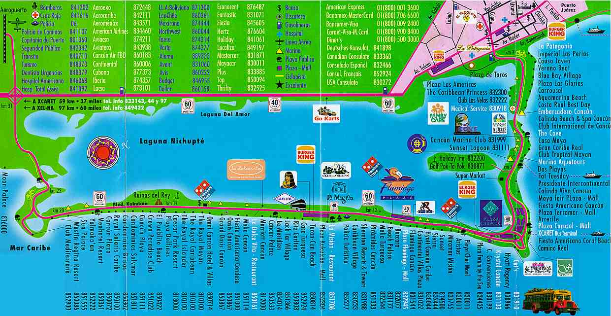 on cancun bus route map